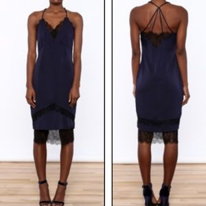 Adeptness Rae M midi blue black lace slip Dress